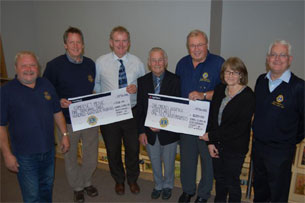 Keith Thomas of Somerset Music receiving a cheque from the Lions Club.